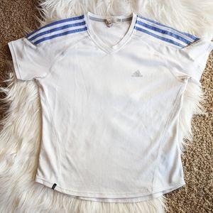Adidas White V-neck Athletic Top